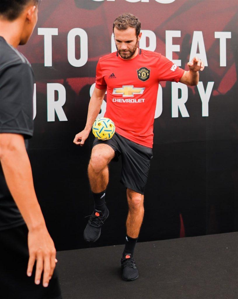 Juan Mata attempting some local Sepak Takraw